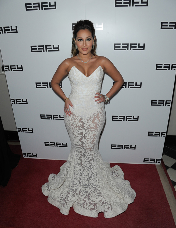 Adrienne+Bailon+Adrienne+Bailon+Hosts-Effy-35th-Anniversary-Party-White-Michael-Costello-Dress