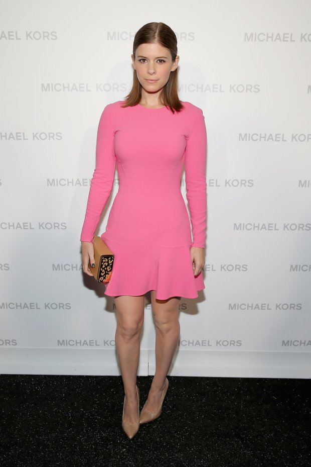 Kate-Mara-also-stuck-girlie-theme-Michael-Kors-little-pink-fit-flare-dress