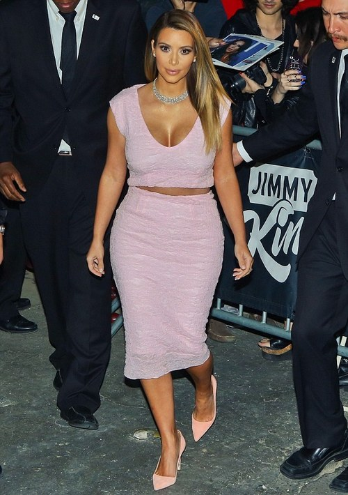 Kim Kardashian striking in pink